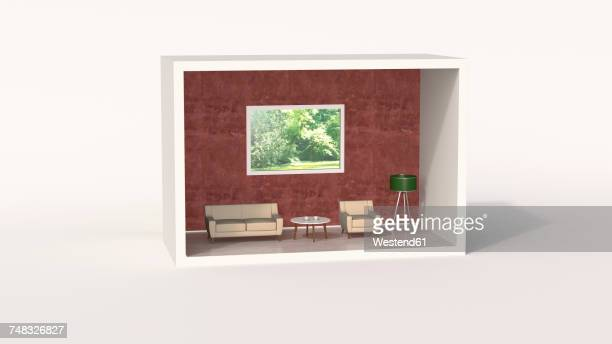 model of a retro style living room - dollhouse stock illustrations