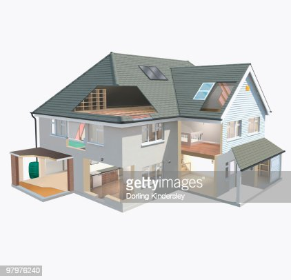 Model Of Ecofriendly House With Insulated Loft And Solar