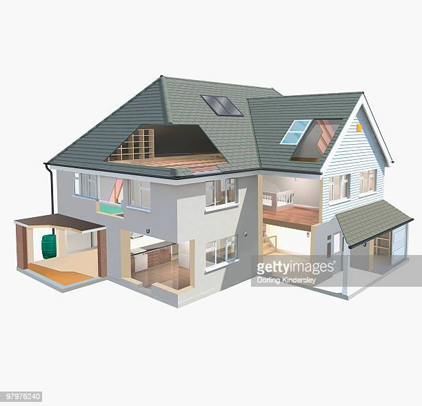 model of eco-friendly house with insulated loft and solar panels on roof - model to scale stock illustrations, clip art, cartoons, & icons