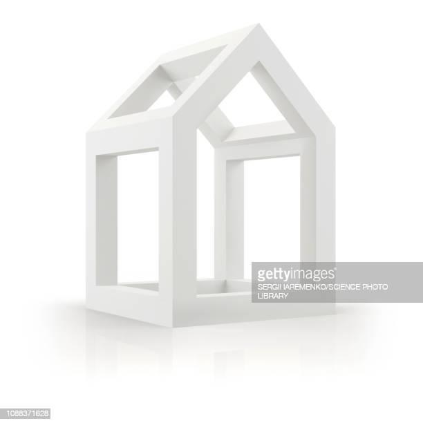 3d model of house, illustration - residential building stock illustrations
