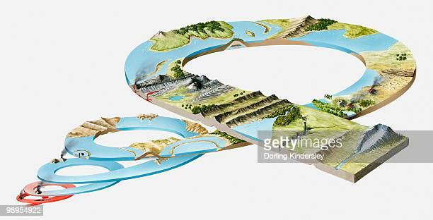 model of landform evolution in the prehistoric era, including quaternary, tertiary, cretaceous, jurassic, triassic, permian, carboniferous, devonian, silurian, ordovician, precambrian periods - jurassic stock illustrations, clip art, cartoons, & icons
