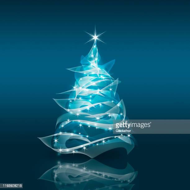 現代の抽象的なクリスマスツリー - ターコイズカラーの背景点のイラスト素材/クリップアート素材/マンガ素材/アイコン素材