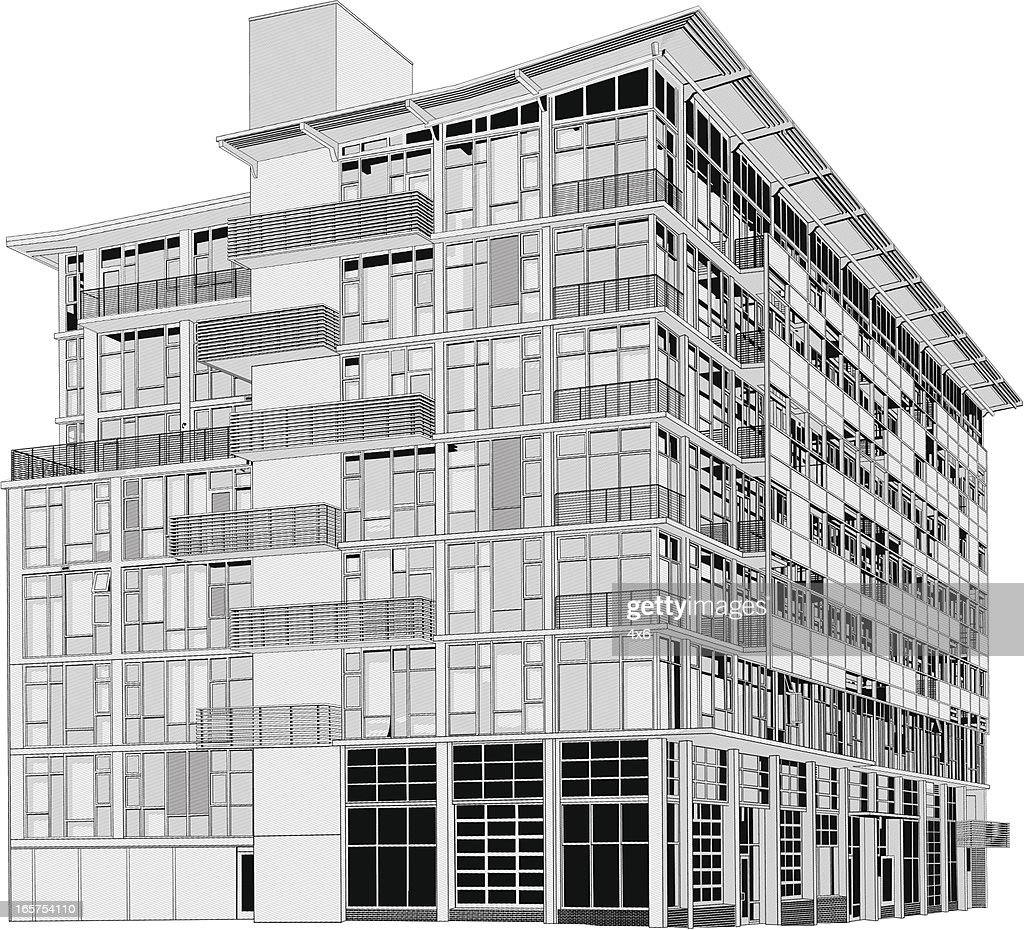 Modern Apartment Building : Vector Art