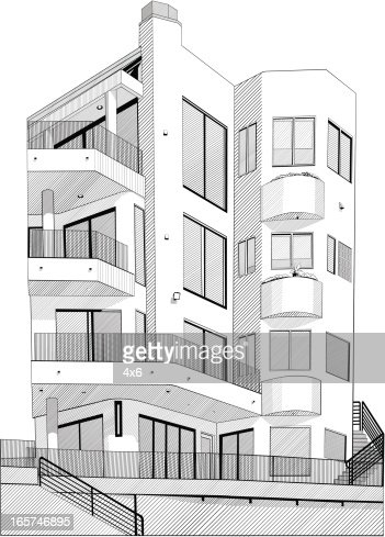 black and white apartment building clip art. Keywords  Apartment Architecture Balcony Black And White Color Building Exterior Built Structure City Clip Art Huge Vector Getty Images