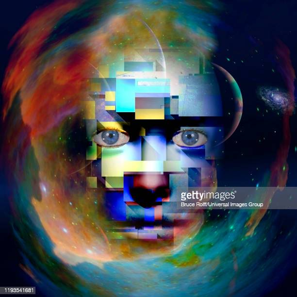 modern art. face in the space - ancient civilization stock illustrations