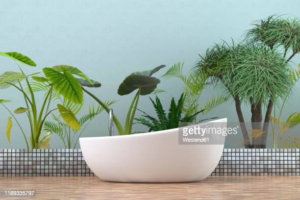 modern bathtub in bathroom with  tropical plants, 3d rendering - toilet planter stock illustrations