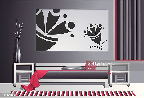 modern bedroom - blanket stock illustrations, clip art, cartoons, & icons