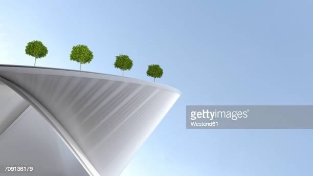 modern building with roof garden, 3d rendering - facade stock illustrations