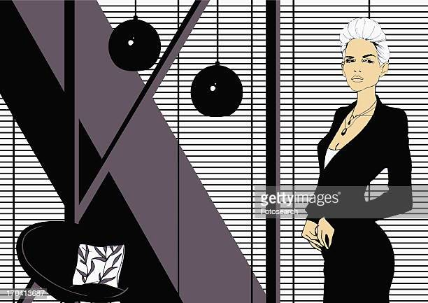 ilustraciones, imágenes clip art, dibujos animados e iconos de stock de modern business woman in designer office - mujeres de mediana edad