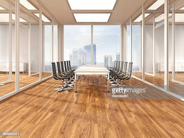 stockillustraties, clipart, cartoons en iconen met modern conference room with parquet, 3d rendering - zonder mensen