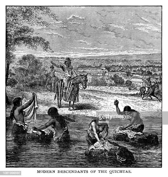 modern descendants of the quechuas - quechua people stock illustrations