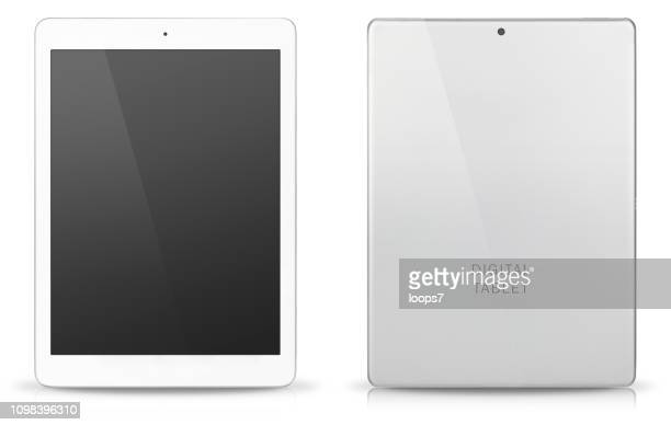 modern digital tablet front and rear view - back stock illustrations