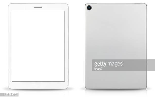 modern digital tablet front and rear view - wide screen stock illustrations