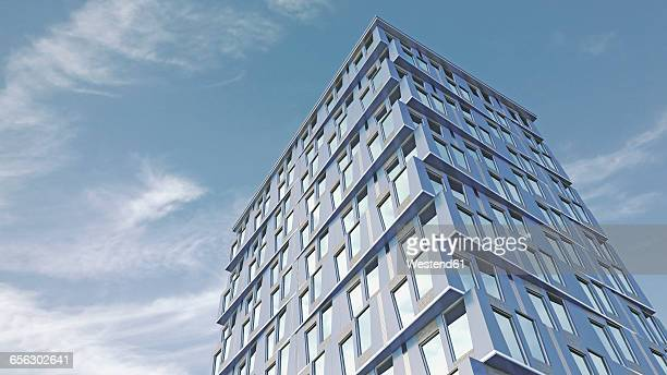 modern high-rise building, 3d-rendering - facade stock illustrations