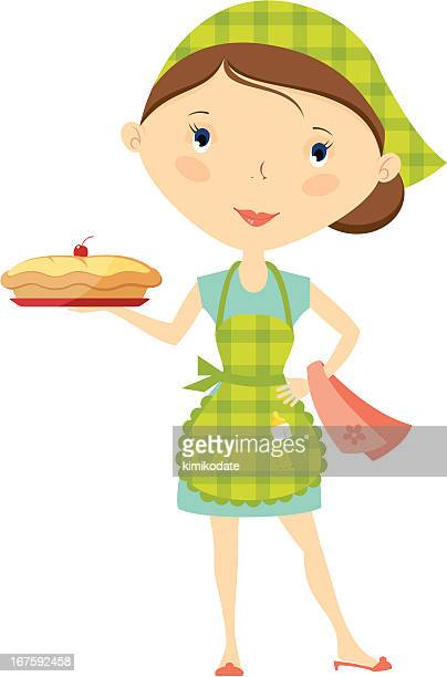 modern housewife - making a cake stock illustrations, clip art, cartoons, & icons