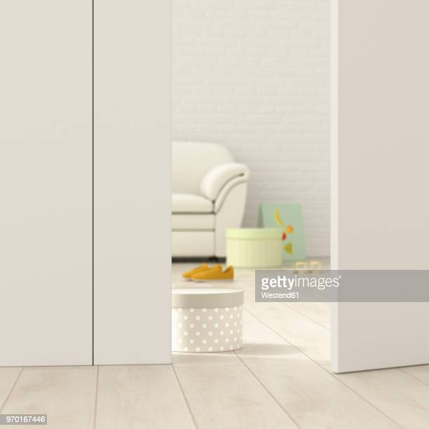 modern living room behind ajar door, 3d rendering - ajar stock illustrations