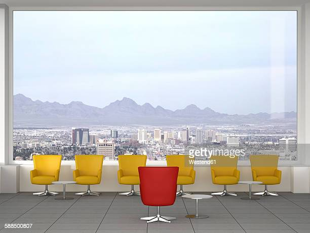 modern meeting room with swivel chairs, and view to city, 3d rendering - meeting stock illustrations