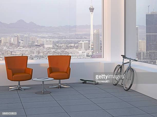 Modern meeting room with two swivel chairs, skateboard and mountain bike, 3D Rendering