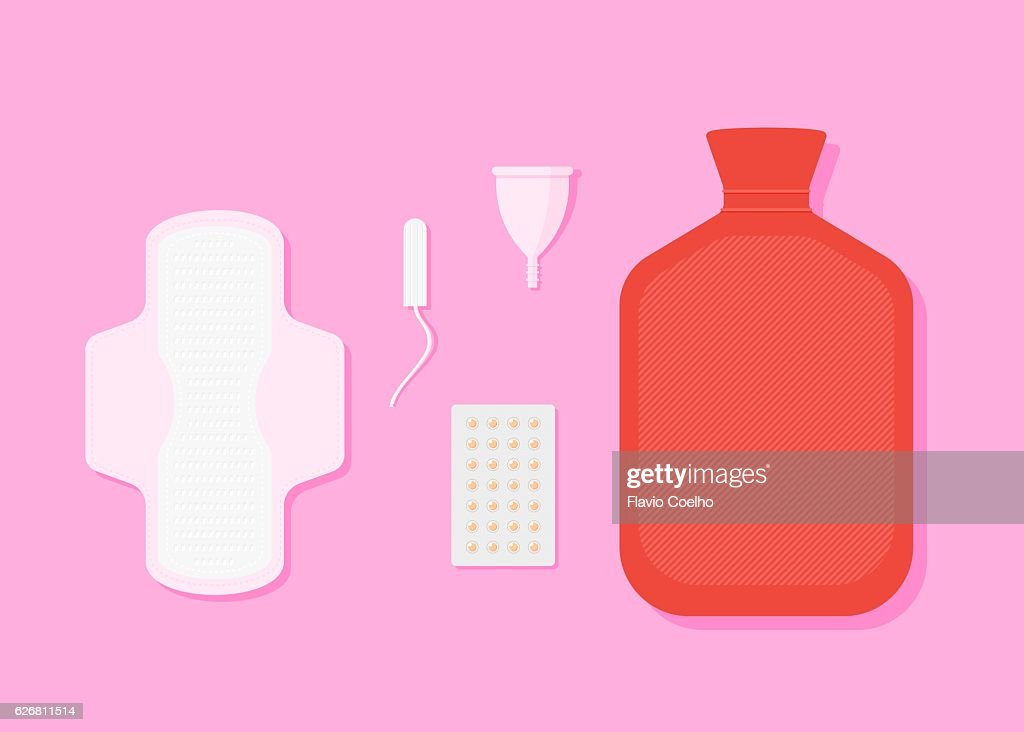 Modern Menstruation - absorbent, tampon, reusable period cup and hot water bottle : stock illustration