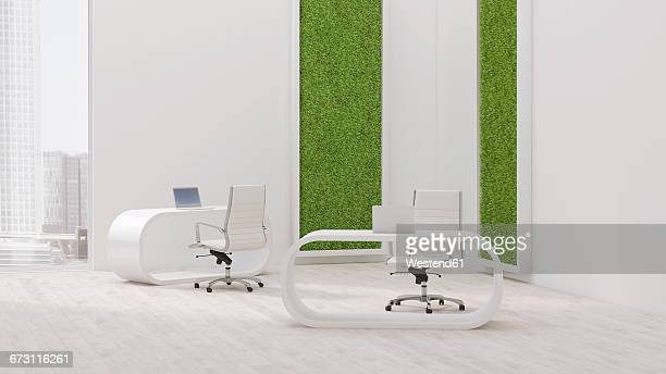 Modern office with living wall, 3D Rendering