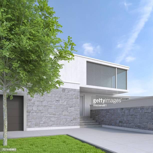 modern one-family house, 3d rendering - 屋外点のイラスト素材/クリップアート素材/マンガ素材/アイコン素材