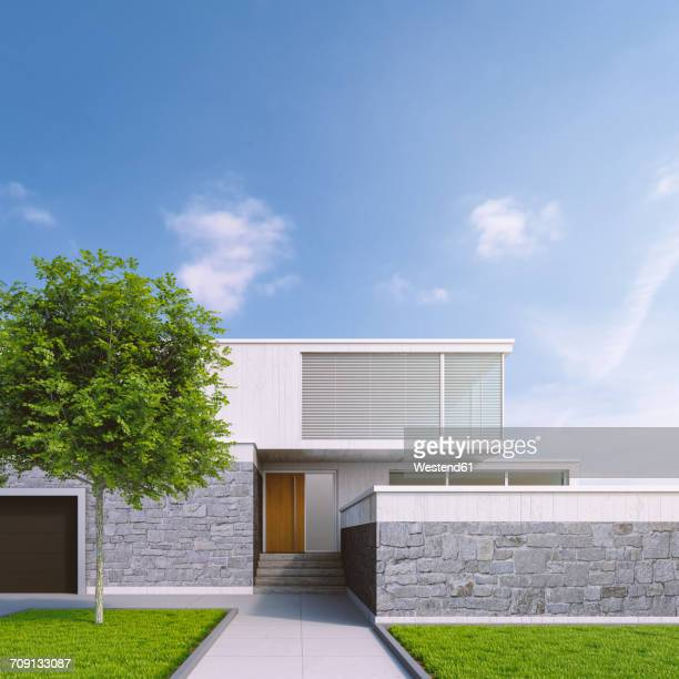 Modern one-family house, 3D Rendering