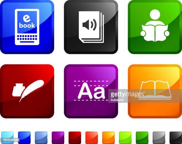 moderne lesen und dichtung lizenzfreie vektor icon set aufkleber - e book reader stock-grafiken, -clipart, -cartoons und -symbole