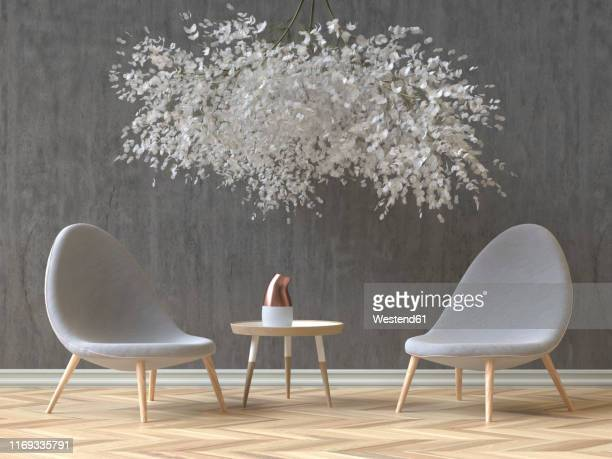 modern skandinavian interior with two grey chairs, coffee table and a floral installation, 3d rendering - transparent stock illustrations