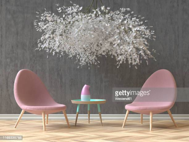 modern skandinavian interior with two pink chairs, coffee table and a floral installation, 3d rendering - female likeness stock illustrations