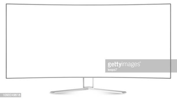 Modern Ultra Wide Curve Screen Monitor / TV Isolated on White with Clipping Path