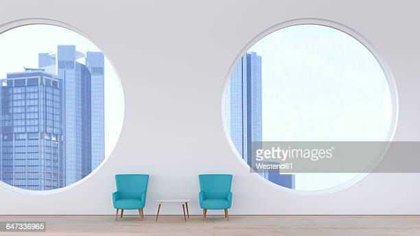 modern waiting area, retro style in front of modern skyline, 3d rendering - house interior stock illustrations, clip art, cartoons, & icons
