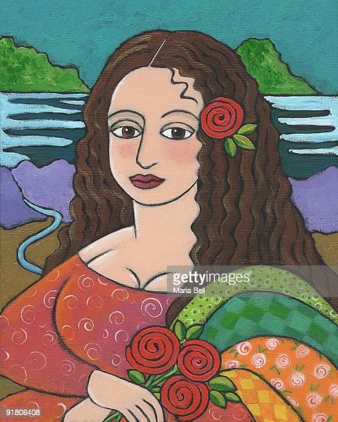 A modern woman in a pose like Mona Lisa