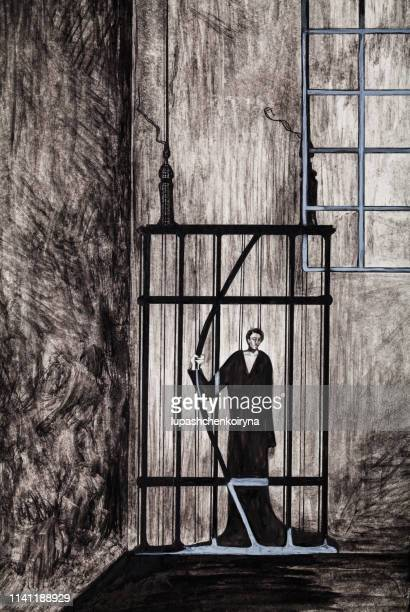 modern work of art my original drawing in black watercolor allegory fantasy image vertical portrait of a man imprisoned in a prison cell in black clothes protest an attempt to escape from prison - prison escape stock illustrations