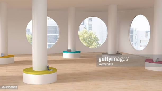 modern workspace, columns with seats, laptops, 3d rendering - office stock illustrations