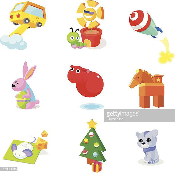 modes of transport with animals and christmas tree on a white background - arugula stock illustrations, clip art, cartoons, & icons