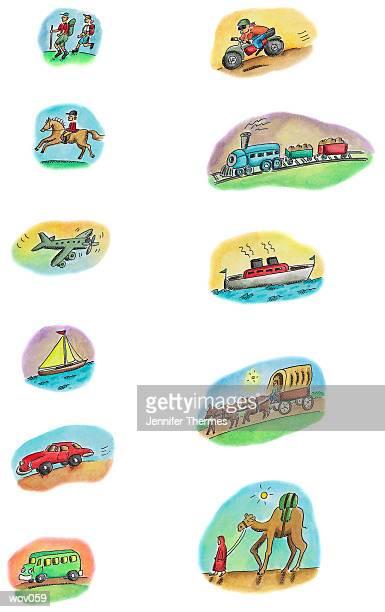 modes of transportation - rail freight stock illustrations, clip art, cartoons, & icons