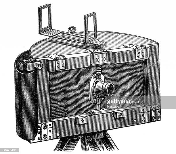 ilustrações de stock, clip art, desenhos animados e ícones de moessard cylindroscope camera of 1889 - maquina fotografica antiga