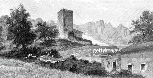 mogrovejo castle  on picos de europe mountain range in cantabria spain in 1895 - picos de europa stock illustrations, clip art, cartoons, & icons