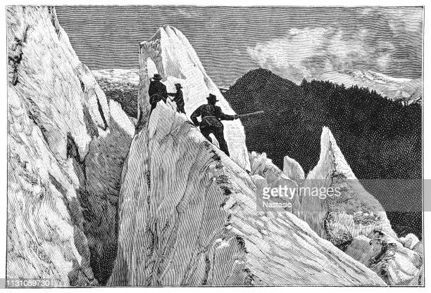 moguls glacier, mont blanc, french alps - mont blanc stock illustrations, clip art, cartoons, & icons