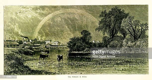 Mohawk River at Utica, New York, wood engraving (1872)