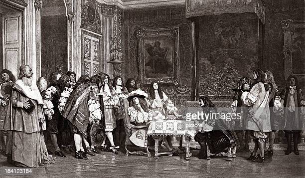 moliere and louis xiv - louis xiv of france stock illustrations, clip art, cartoons, & icons