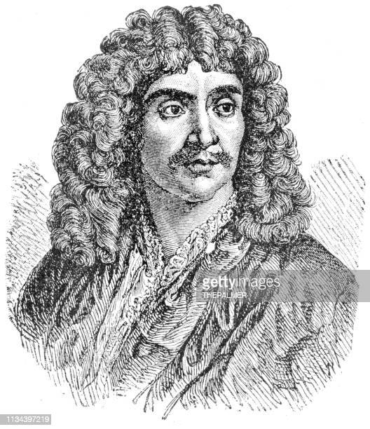 moliere engraving 1894 - actor stock illustrations