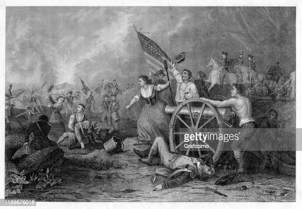 moll pitcher in the battle of monmouth 1778 at american revolution - revolution stock illustrations