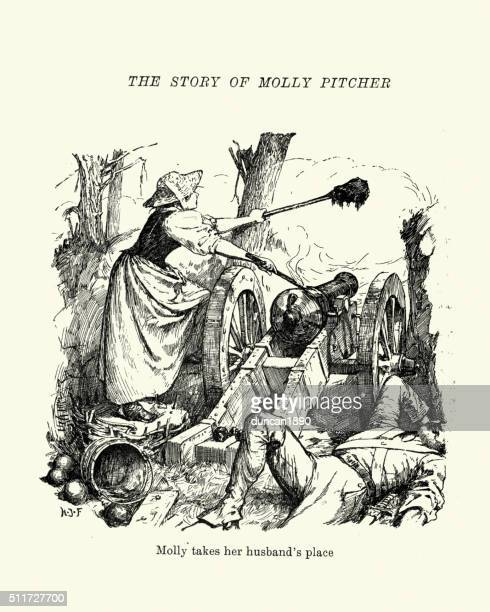 molly pitcher at the battle of monmouth - american revolution stock illustrations, clip art, cartoons, & icons