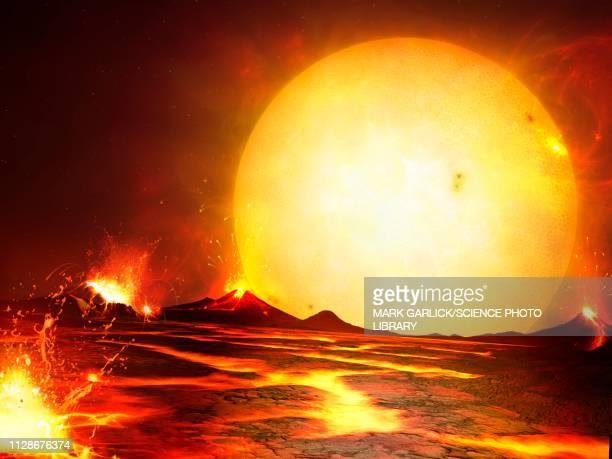 molten planet corot-7b, illustration - extrasolar planet stock illustrations