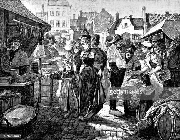 ilustraciones, imágenes clip art, dibujos animados e iconos de stock de mamá y la hija visita a un mercado con puestos - 1896 - puesto de mercado