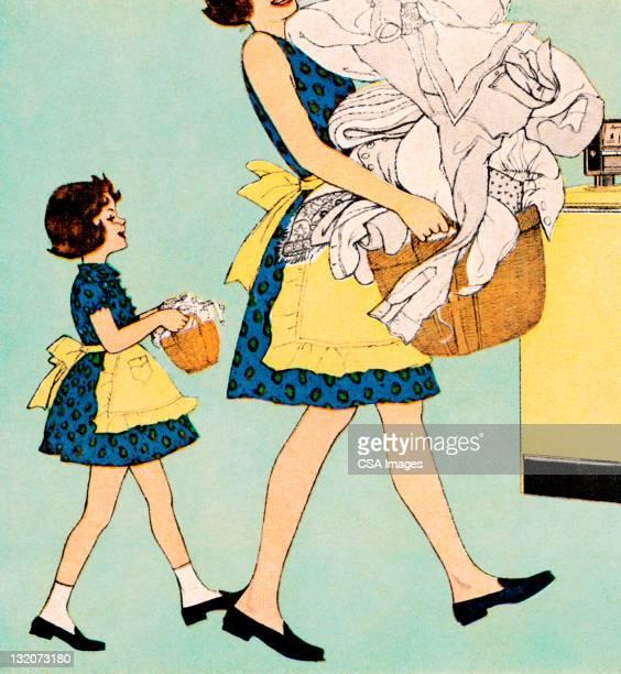 ilustraciones, imágenes clip art, dibujos animados e iconos de stock de madre e hija haciendo mini-me lavandería - madre e hija