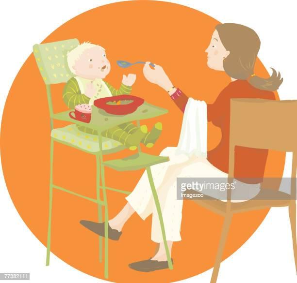 illustrations, cliparts, dessins animés et icônes de mom feeding baby - assistante maternelle