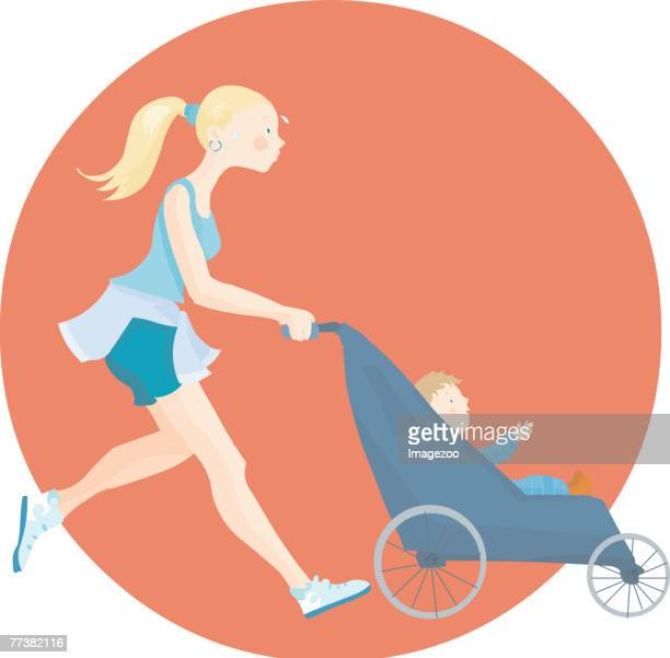 mom jogging with baby in stroller - three wheeled pushchair stock illustrations, clip art, cartoons, & icons