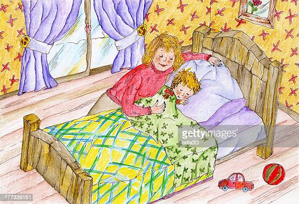 mom sleeping her son - blanket texture stock illustrations, clip art, cartoons, & icons